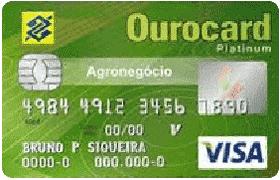 Cartão de Crédito Ourocard Agronegócio Banco do Brasil Visa Platinum